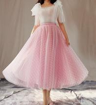 Women Tulle Midi Skirt Pink Plaid Skirt A Line Midi Tulle Skirt Pink Tutu Skirt