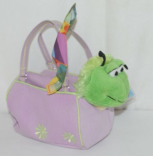 Webkinz HM434 Plush Green Caterpillar Purple Pet Carrier 9 Inches Age 3 plus