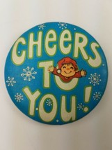 1980 Round Hallmark Holiday Christmas Pin Blue Cheers To You Blue Snowflakes - $9.65