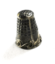 Sterling Silver LMA Mexico Scroll Sewing Thimble 24mm x 18mm - $19.79