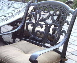 Patio set of 6 swivel rocker dining chairs outdoor Cast Aluminum Flamingo Bronze image 3
