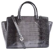 Michael Kors Large Selma Croc Embossed Leather Grey Silver Satchel Bag ❤Nwt❤ - $258.00