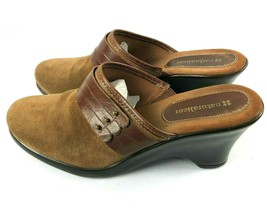 Naturalizer Womens Shoes Brown Leatheer Suede Mules Slip On Clogs Size 8 M - $28.00