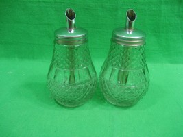 Vintage Pair Glass Cruets ~ Oil & Vinegar ~ Syrup ~ Jars ~ Metal Tops - $14.92