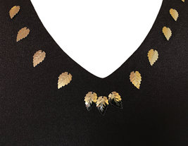 70s Chocolate Brown Gold Metal Leaf Sequin Detail Occasion Boho MOD Maxi Dress image 4