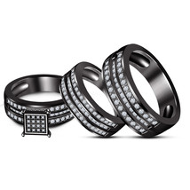 Black Gold FN His Her Men's Women's Sim Diamond Wedding Trio Ring Set Free Ship - $168.50