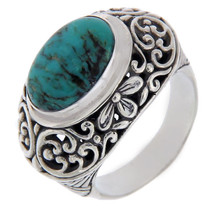 Solid Sterling Silver Turquoise Dome Cluster Ring » R120 - £33.14 GBP