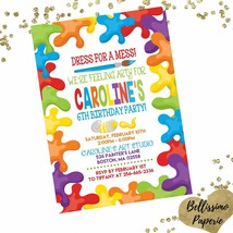 Art Party Birthday Invitation Paint Art Party Personalized Invitation Cu... - $12.00