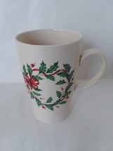 Lenox Beige Holiday Coffee Tea Mug Holly Christmas Wreath 16 ozs - $13.65