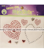 Dritz IRON-ON Rhinestuds HEARTS~Silver and Red Metal Studs~Fabric Transfer - $4.99