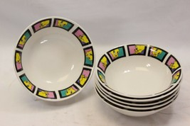"""Gibson Looney Tunes Tweety Bird Soup Cereal Bowls 2001 6.25"""" Set of 6 - $64.67"""