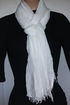 NEW Collection 18 Eighteen Women's Neck Scarf White  22x72 100% modal - $10.88