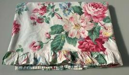 "Ralph Lauren Ruffle Flat Sheet~""Lorraine""~Twin Shabby Cottage Floral Rose - $24.61"