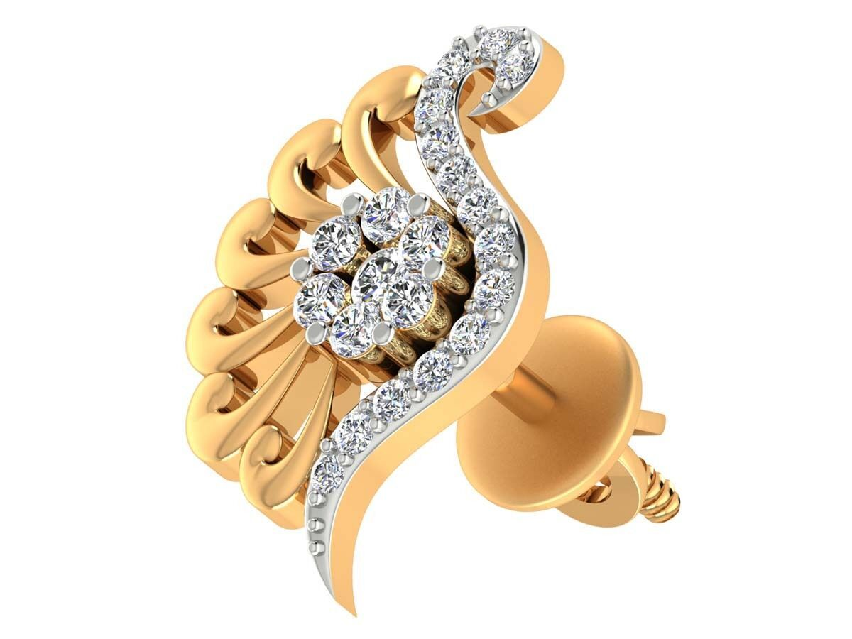 0.30CT Genuine Natural DIAMOND 18k Solid yellow gold Stud earrings Jewelry