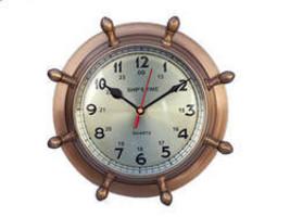 "Antique Brass Double Dial Porthole Wheel Clock 8"" - $149.99"