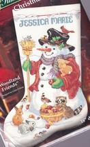 Woodland Friends Snowman Forest Animal Christmas Cross Stitch Stocking K... - $49.95