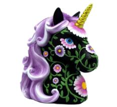 "Purple & Black Unicorn Coin Money Bank 6"" Piggy Bank Gift Child Adult Ba... - $26.28"