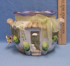 HOME INTERIOR Ceramic Cottage House Candle Holder Butterfly Floral Windows - $13.85