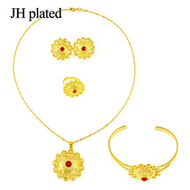 Jewelry Sets Women Indian African flower gold color red stone Jewelry Se... - $21.56