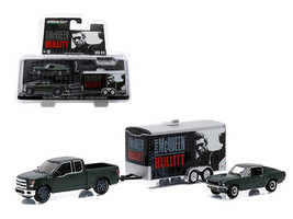 "2015 Ford F-150 and 1968 Ford Mustang GT with Enclosed Car Hauler Set ""Bullitt\ - $30.53"