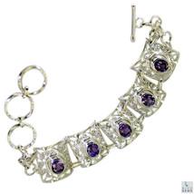 engaging Amethyst Silver Purple Bracelet handmade L-7.5in US - $69.29