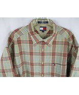 Tommy Hilfiger Mens Size Large 100% Cotton Short Sleeve Plaid Button Fro... - $20.80