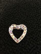 Vintage silver tone rhinestone heart BROOCH Pin vintage jewelry - $4.54