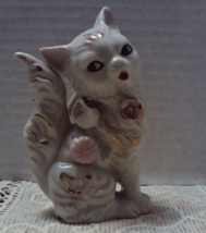 Vintage Shabby Chic White & Gold Cat Figurine Long Haired White Cat Japan - $10.99