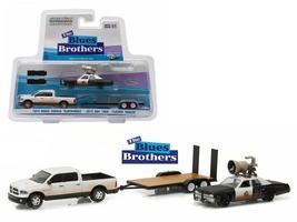 2015 Dodge Ram and 1974 Dodge Monaco on Flatbed Trailer 1:64 Diecast Mod... - $33.46