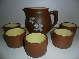 Pigeon Forge Tennessee Pottery Pitcher & Cups Dogwood Brown Yellow - $30.00