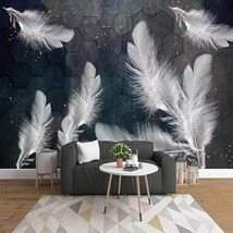 """3D Wallpaper """"White Feathers"""" - $35.00+"""