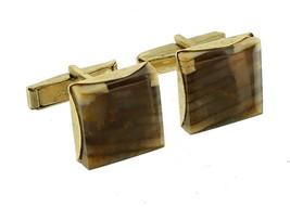 Vintage Swank Beautiful Brown Striped Quartz Agate Cufflinks - $71.99