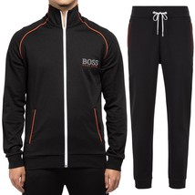 Hugo Boss Men's Sport TrackSuit Zip Up Sweatshirt Jacket & Pants Set Black