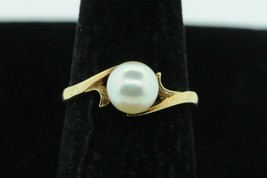 MIKIMOTO (ca. 1940) 14K Yellow Gold 7.1mm+ Japanese Akoya Pearl Ring (Si... - $235.00