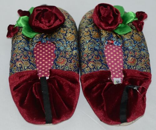 Snoozies Brand Coventry Collection Navy Blue Red Womens House Slippers Size L