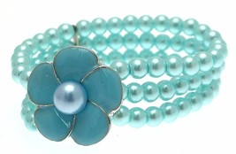 Beaded Bracelet Stretch Bracelets Beaded Jewellery Flower Bracelet Blue  - $16.67