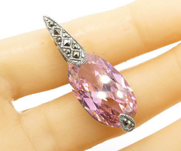 925 Sterling Silver - Faceted Pink Topaz & Marcasite Drop Pendant - P1261 - $36.42