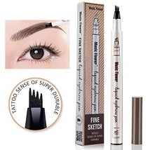 Music Flower liquid eyebrow pencil with four tips brow tattoo pen Dark Grey - $11.59
