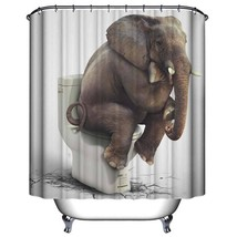 Bathroom Curtains Waterproof Polyester Fabric Shower Curtain 3D Elephant Printed - $30.94