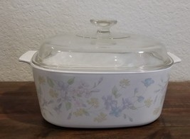 Corning Ware Pastel Bouquet 5 Liter Casserole With  Pyrex Lid  A-5-B  - $24.74
