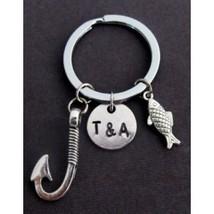 Fish Hook Keychain, Couples Two Initials Keychain,Anniversary Gift for B... - $12.00