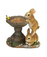 Playful Bunnies Birdfeeder Statue Outdoor Decor - $31.92