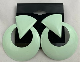 Vintage Funky Mint Green Round Pierced Earrings NOS 80s 90s Statement - $15.11