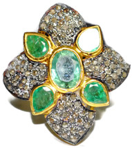 Victorian 1.56ct Rose Cut Diamond Emerald Ladies Bridal Ring - $423.56