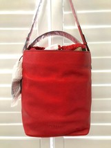 Burberry Grainy Calfskin Medium Check Ashby Cadmium Red Leather Hobo Bag - $727.49