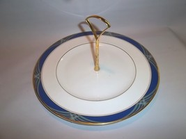 1987 Royal Doulton REGALIA Tidbit Handled Pastry Plate Tray Server Green/ Blue - $23.76