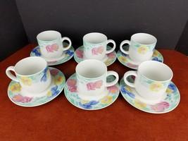 set/6 vintage cup & saucer Sango Passion 4805 mug tea coffee dessert 10o... - $18.15