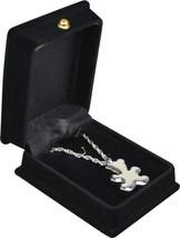 "Teddy Bear Silver Pendant w/20"" chain & black velvet display box - $149.99"