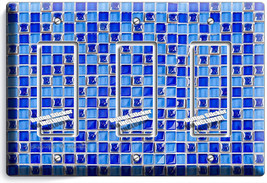 Blue Mosaic Arabic Tiles Triple Gfci Light Switch Plate Cover Home Kitchen Decor - $16.19