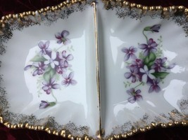 VINTAGE MGI COLLECTIBLE CHINA 2-PART CANDY NUT DISH VIOLETS WITH GOLD TR... - $12.20